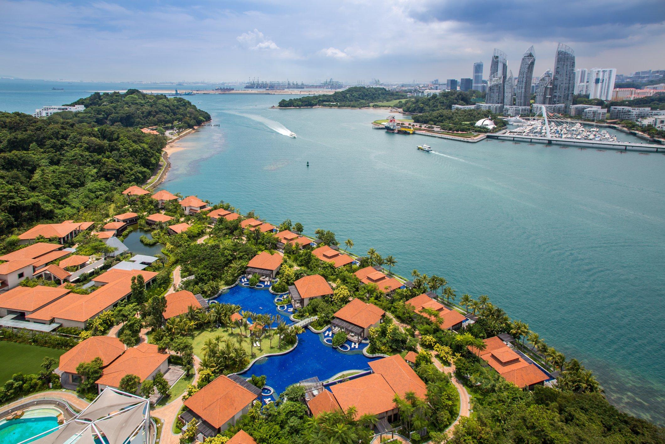 Aerial view of Sentosa island, Singapore