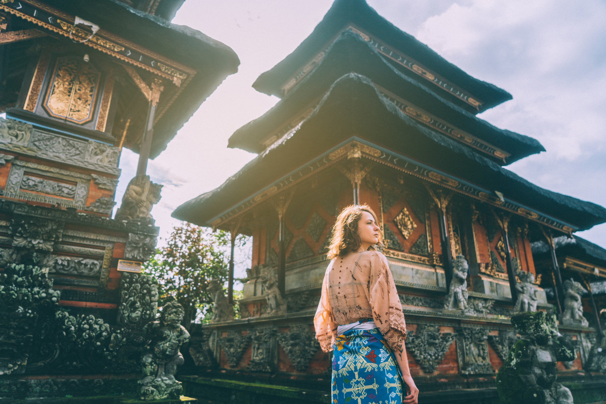 Woman walking in Balinese temple