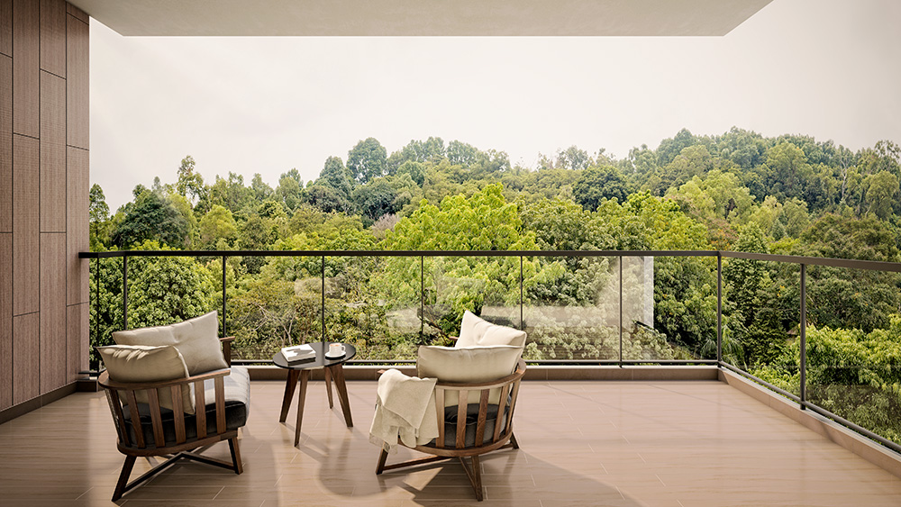 Balcony of unit at Kent Ridge Hill Residences near the future Greater Southern Waterfront