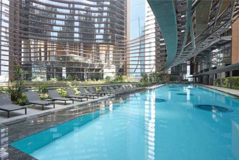 residents at marina one residences can enjoy a swim at the 50m lap pool
