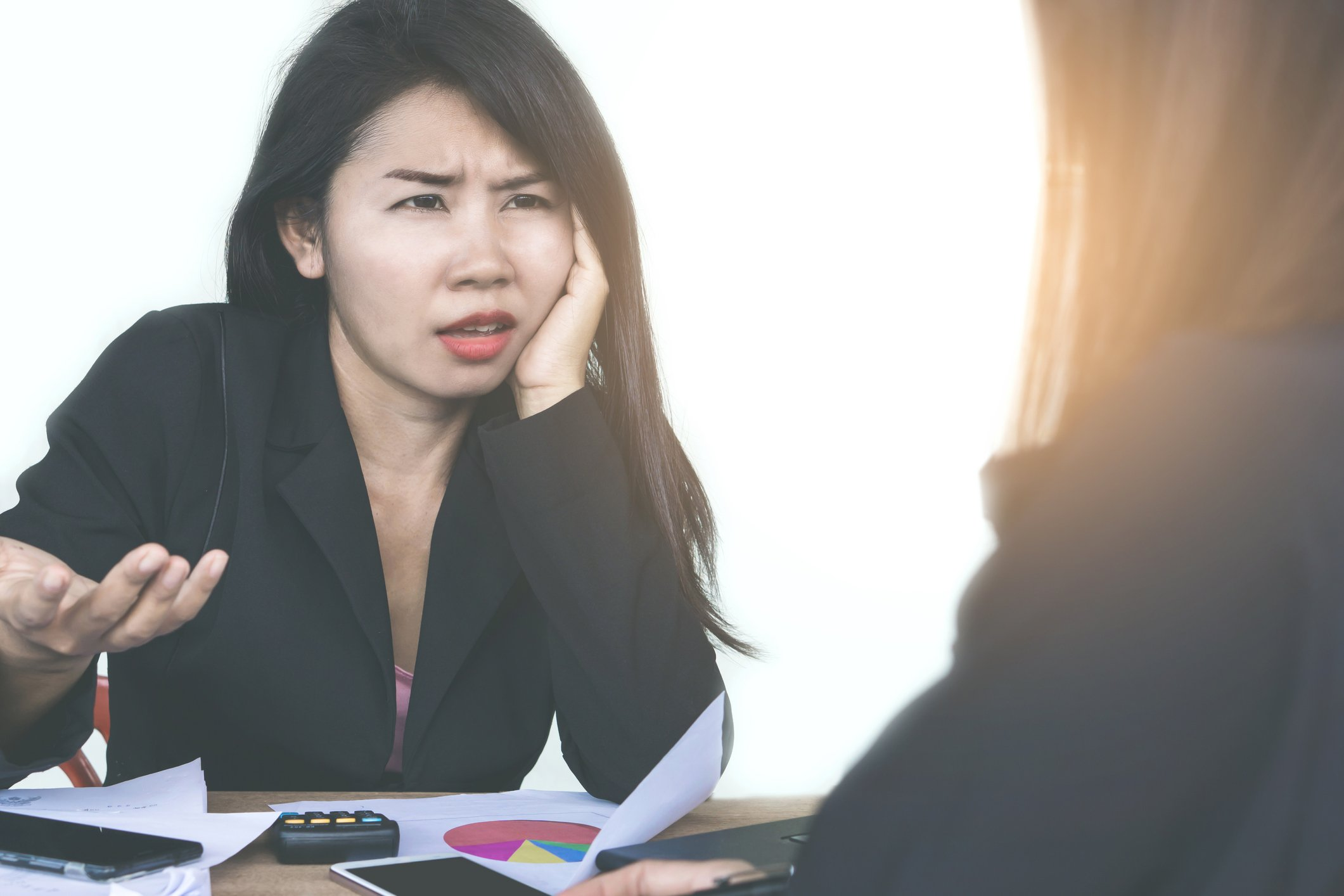 Angry lady scolding someone