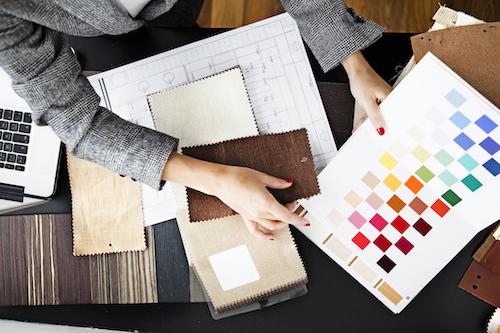 Interior designer with colour samples