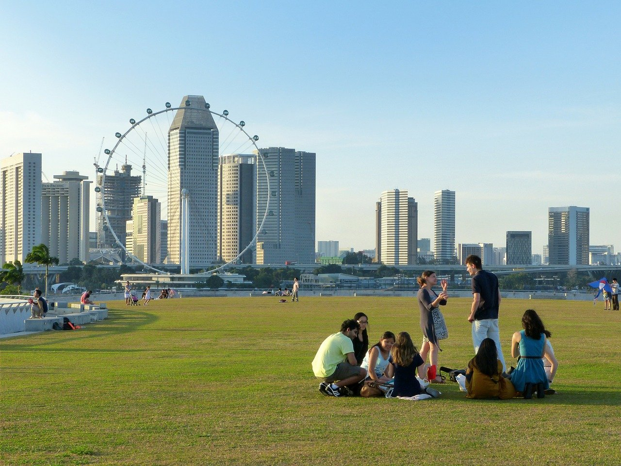 Singaporeans picnicking near CBD
