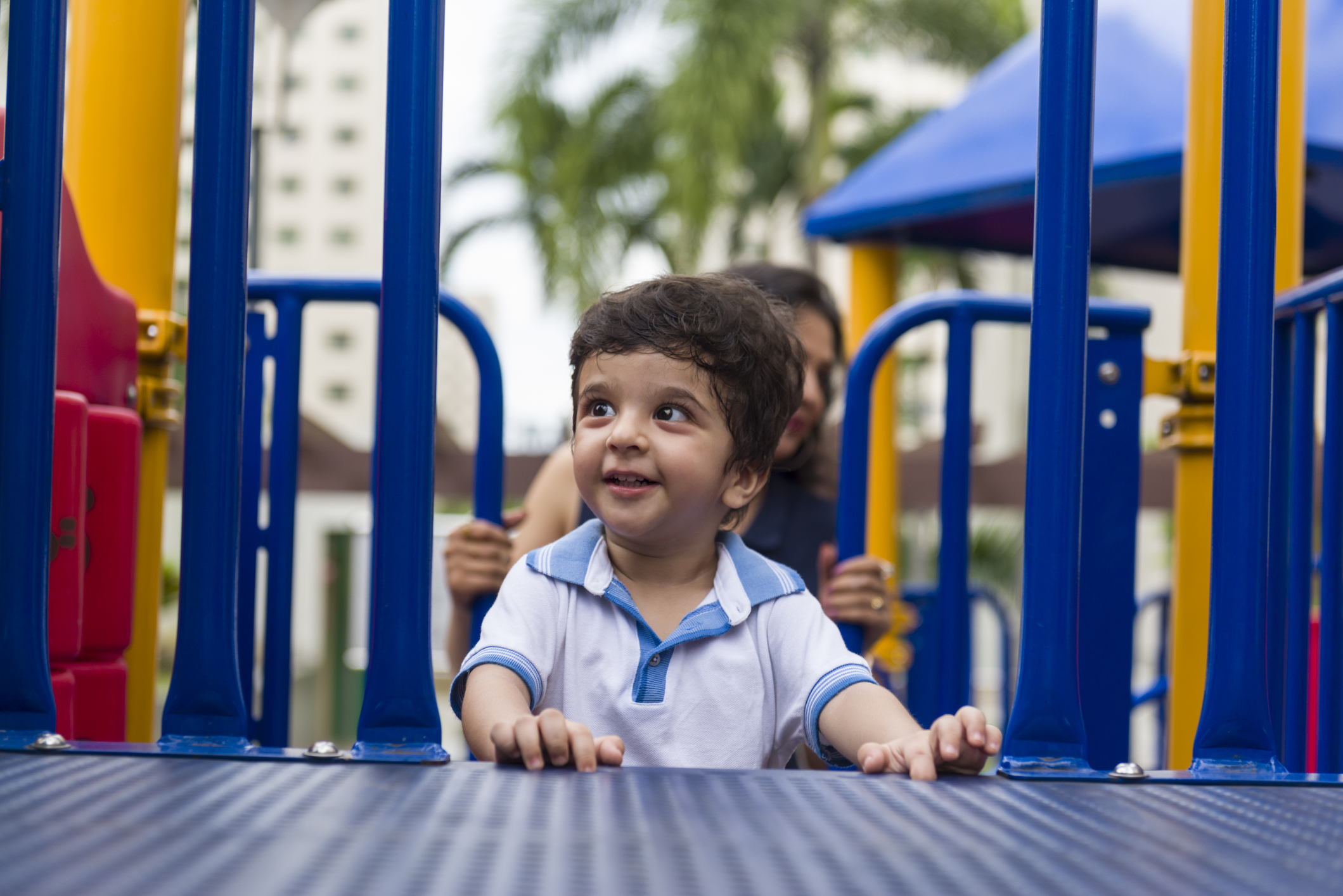 asian baby in the playground