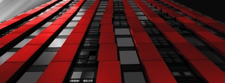 building in black and white and red