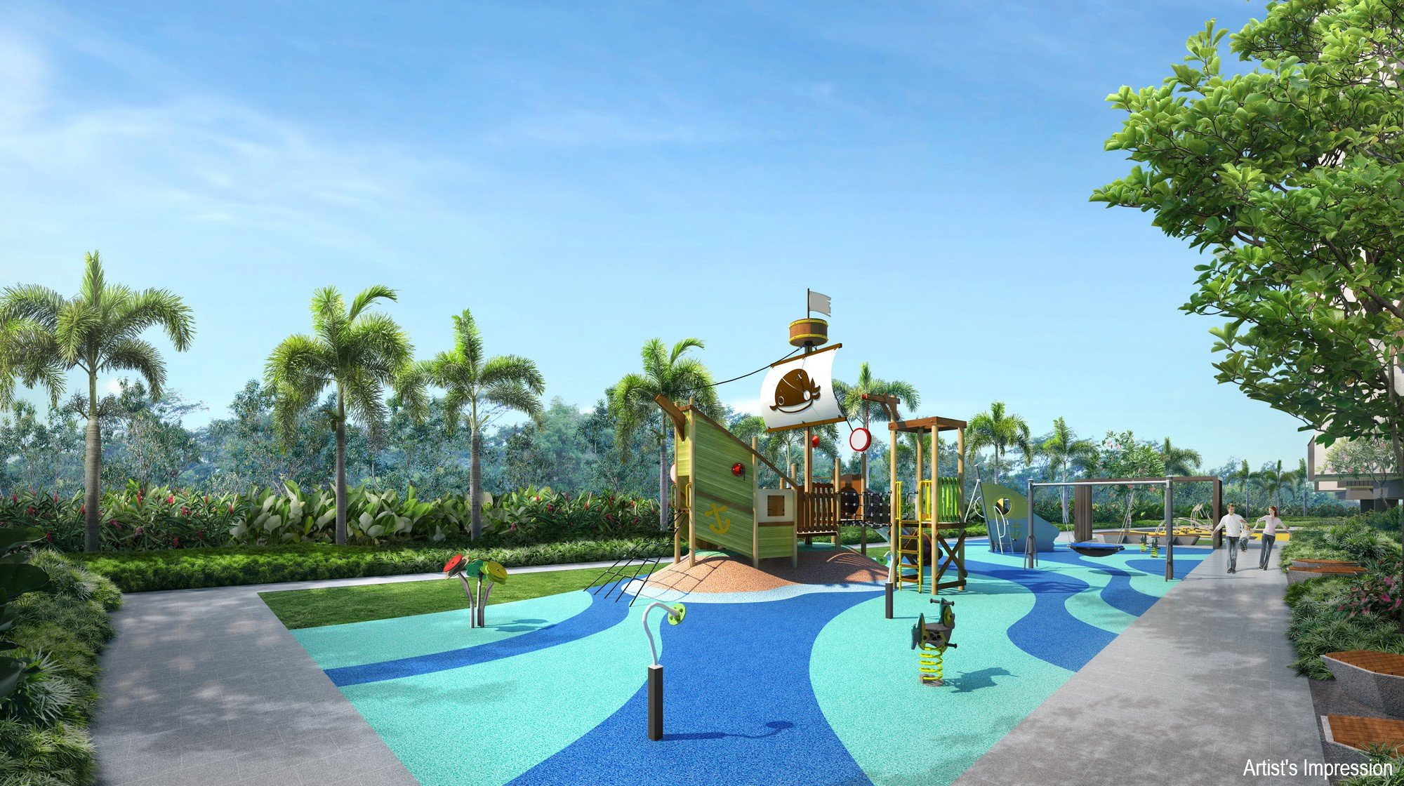 there are two themed playgrounds at treasure at tampines