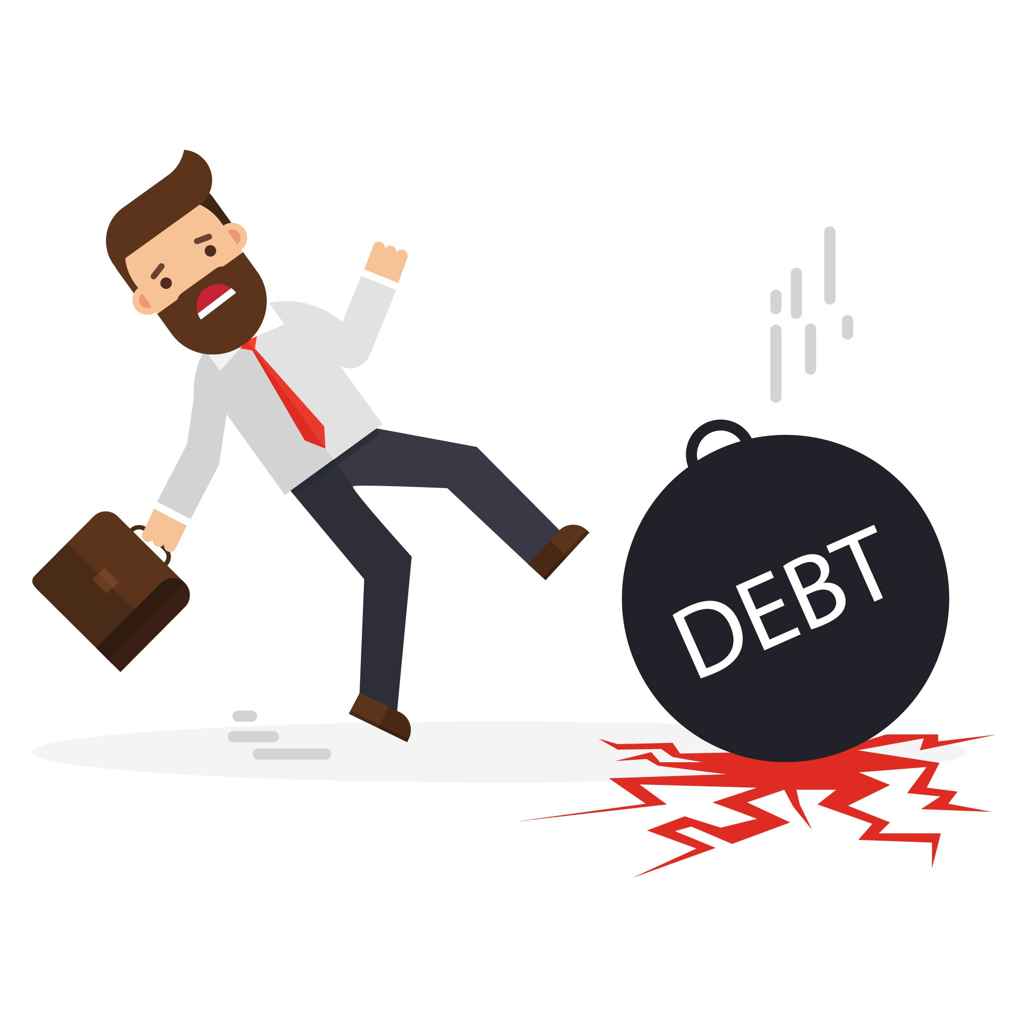 Debt bomb falling in front of businessman
