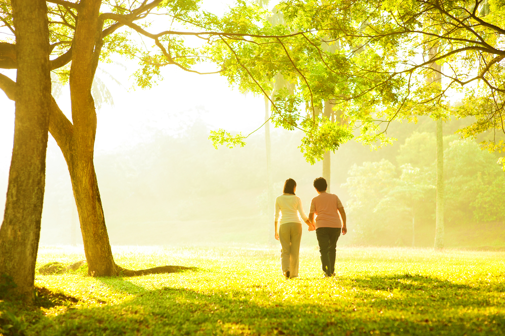 Two people walking in the park