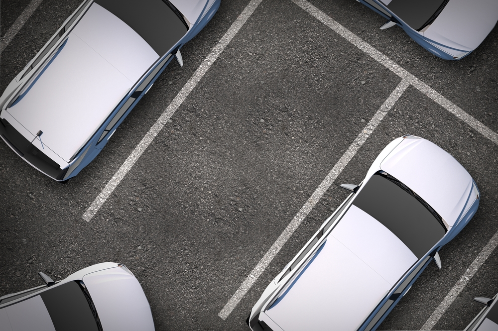 Aerial shot of a car parking