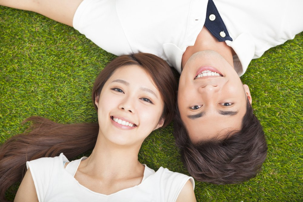 Aerial shot of an Asian couple