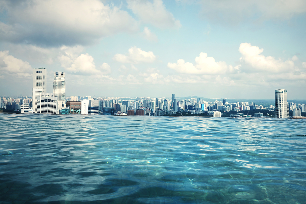 A rooftop pool overlooking the city.