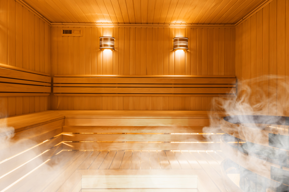 A well-lit steam room.