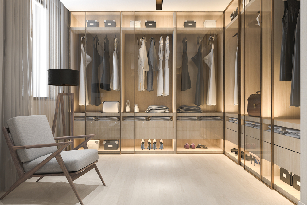 A walk-in closet with different compartments.