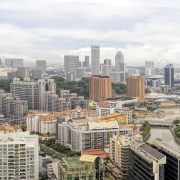 Property along Singapore River with Central Business District Skyline Panorama