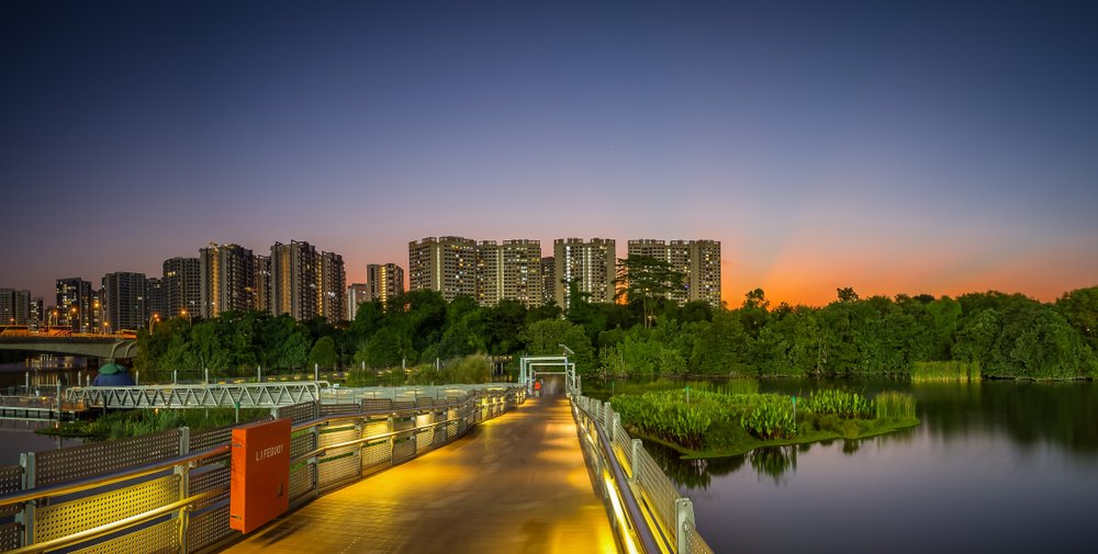 During dusk, the Floating Wetland has a great view.