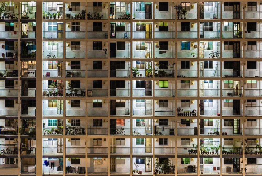 HDB flats closely packed