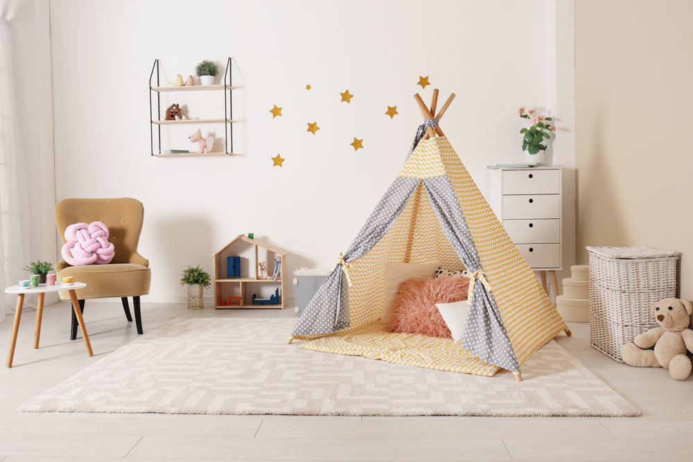 playroom with tent and cabinet for toys