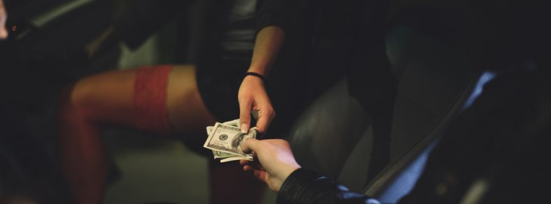 Transaction between a male and female.