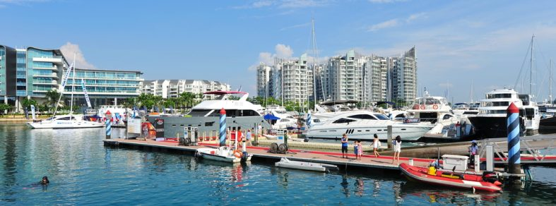 An overview of Sentosa Cove.