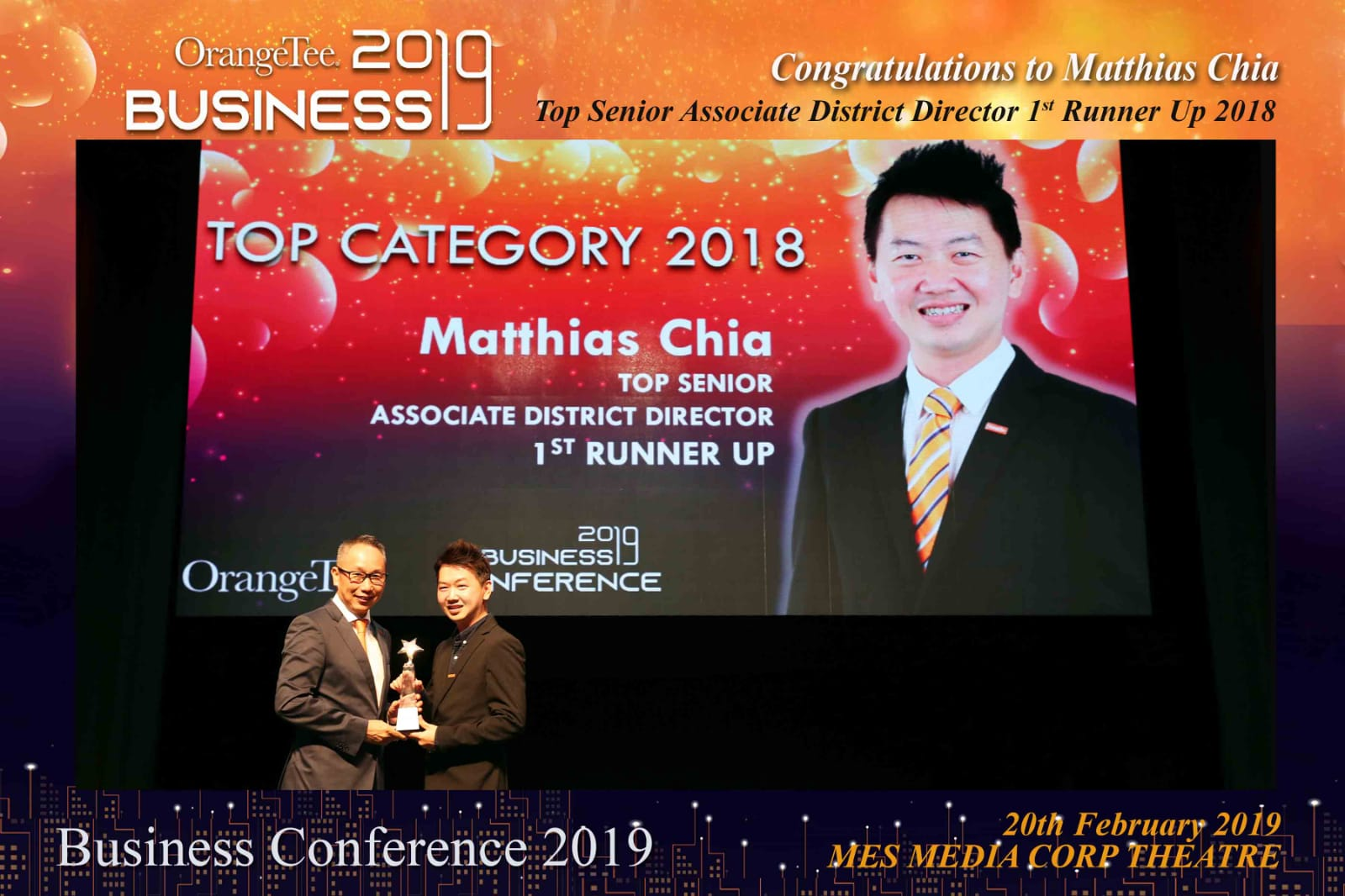 Matthias Chia receiving an award