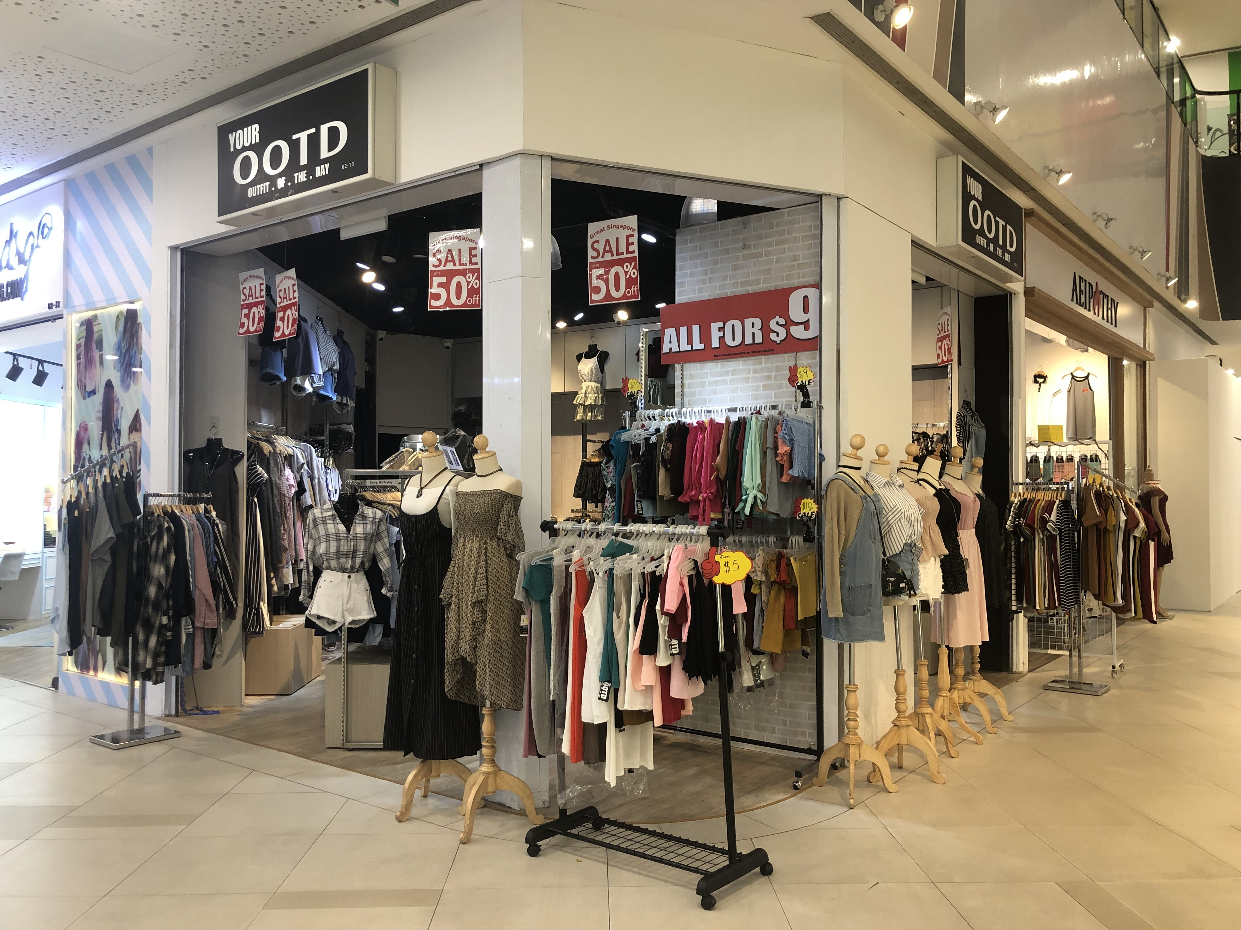 Shops at SCAPE selling clothes