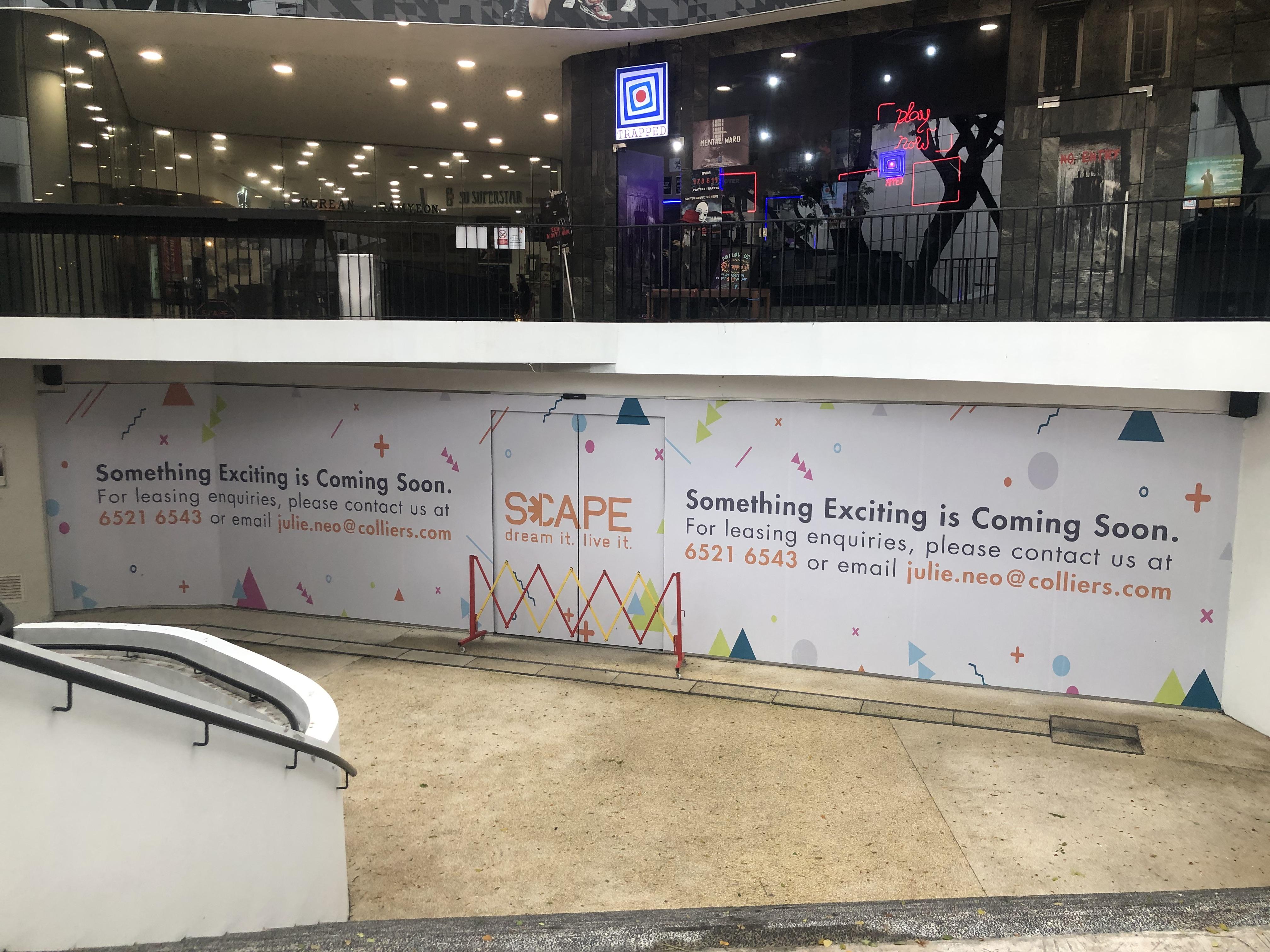 Exterior of *SCAPE underground undergoing upgrading