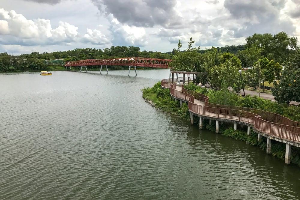 An overlook of the wetland and the famous deep-orange bridge.
