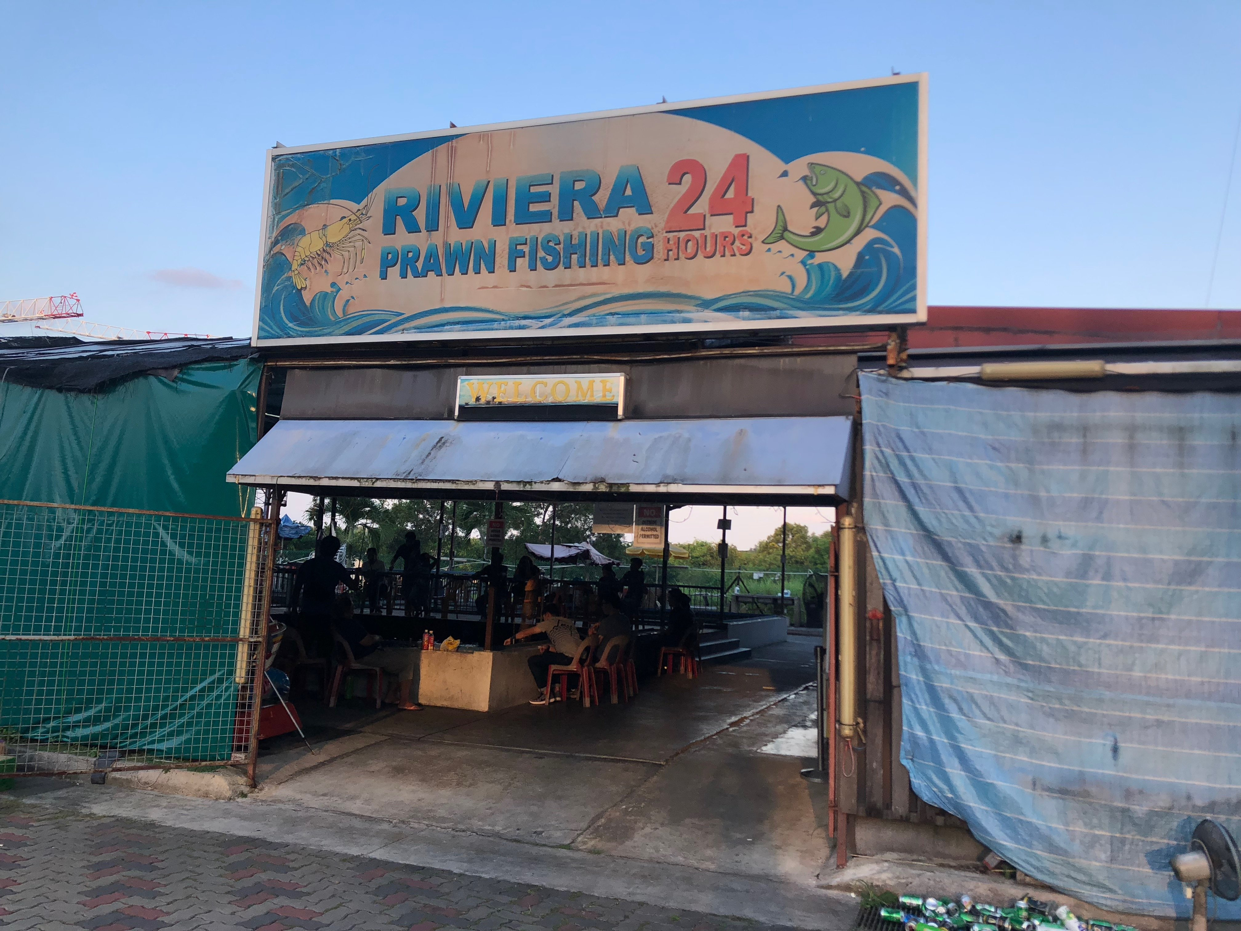The front entrance of Riviera Prawn Fishing.