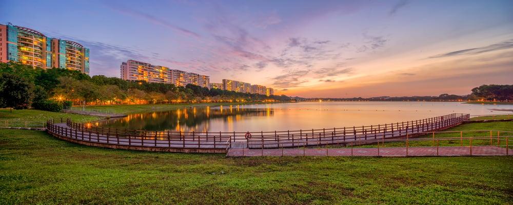 bedok reservoir park sunset and floating platform view