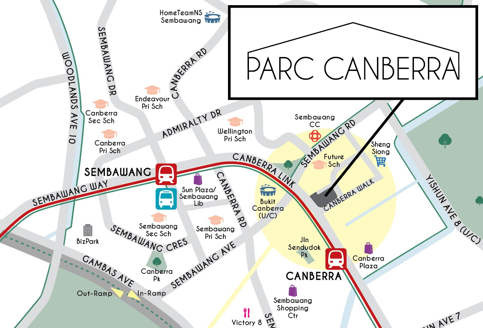 Parc Canberra map