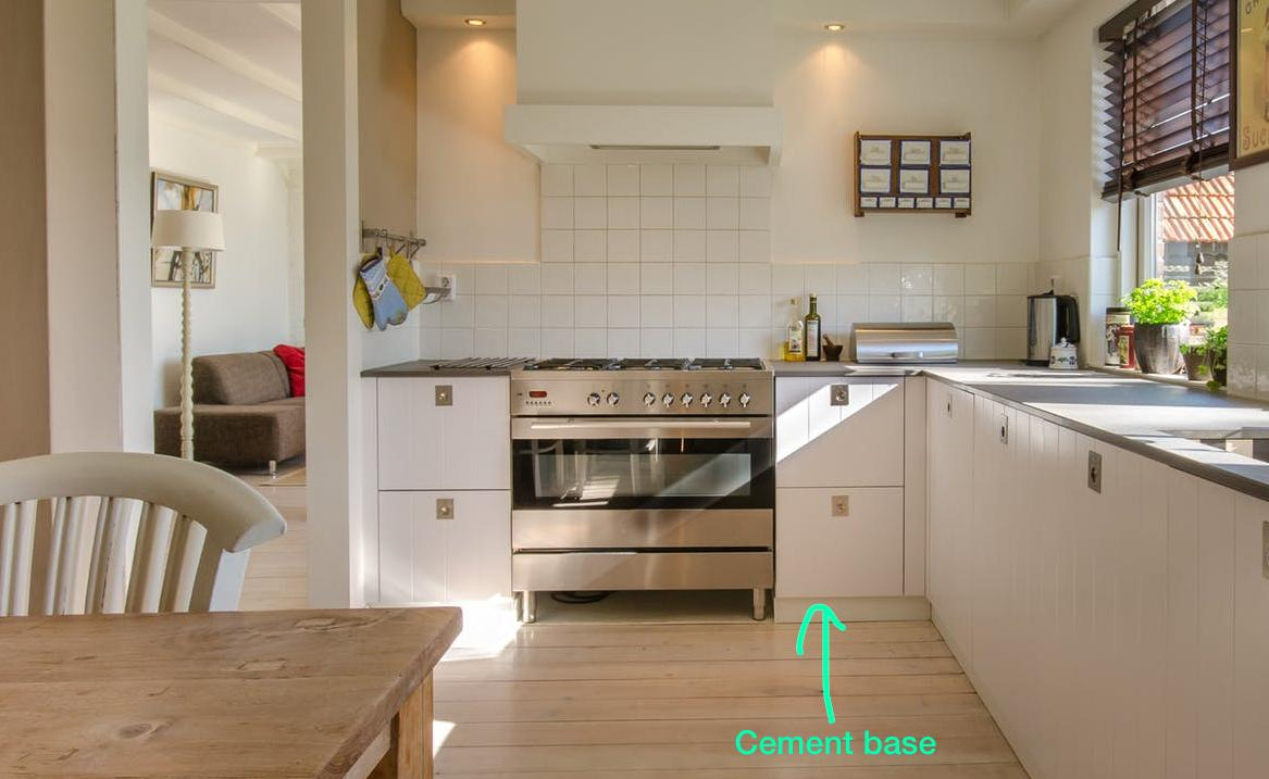 the cement base of a kitchen