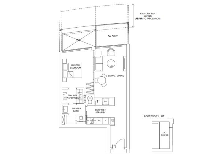 marina one residences floor plan one-bedroom