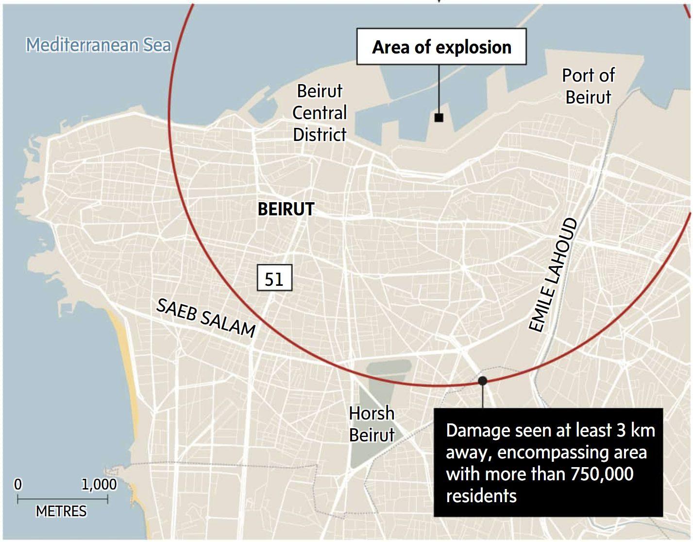 beirut lebanon explosion map