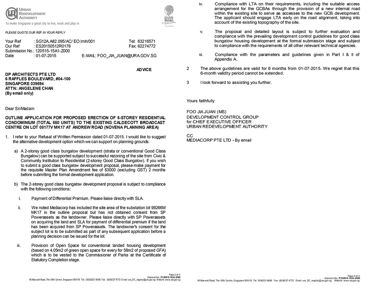 ura refusal written permission mediacorp condo caldecott hill advice
