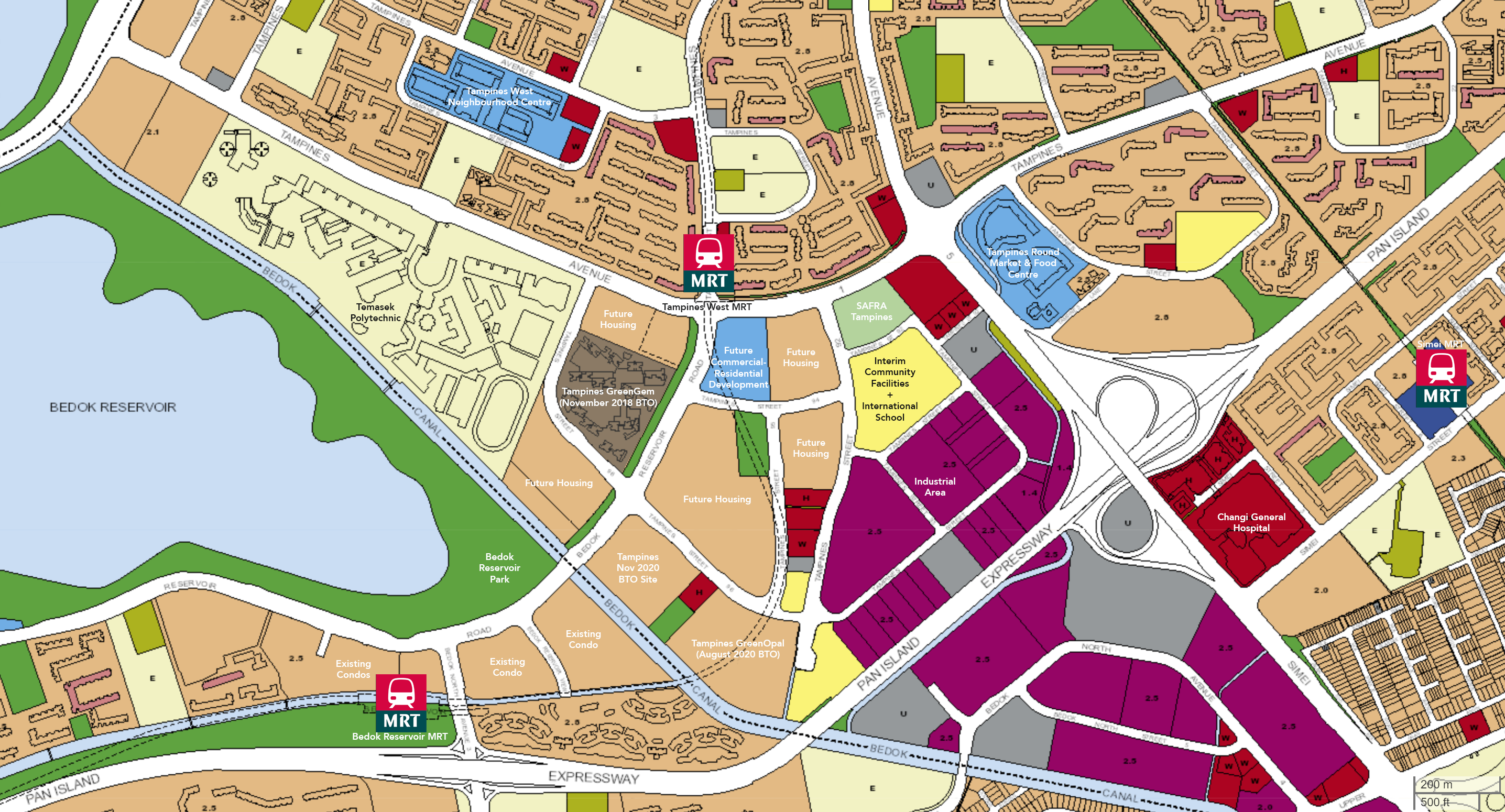 ura master plan hdb nov 2020 tampines bto map