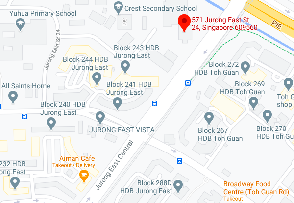 Screenshot of Google Maps showing location of the Jurong East site