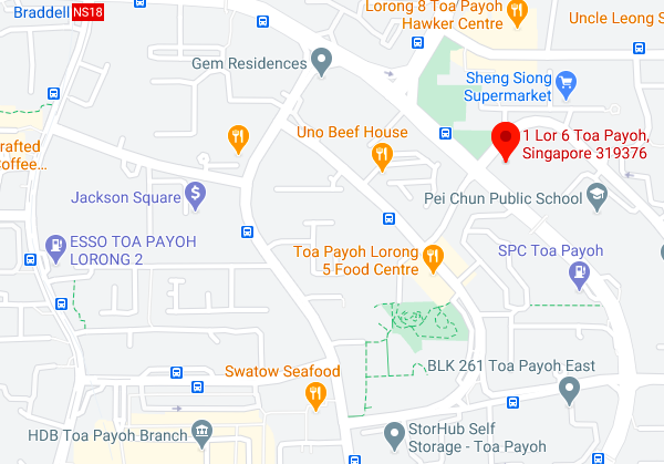 Screenshot of Google Maps showing location of the Toa Payoh site