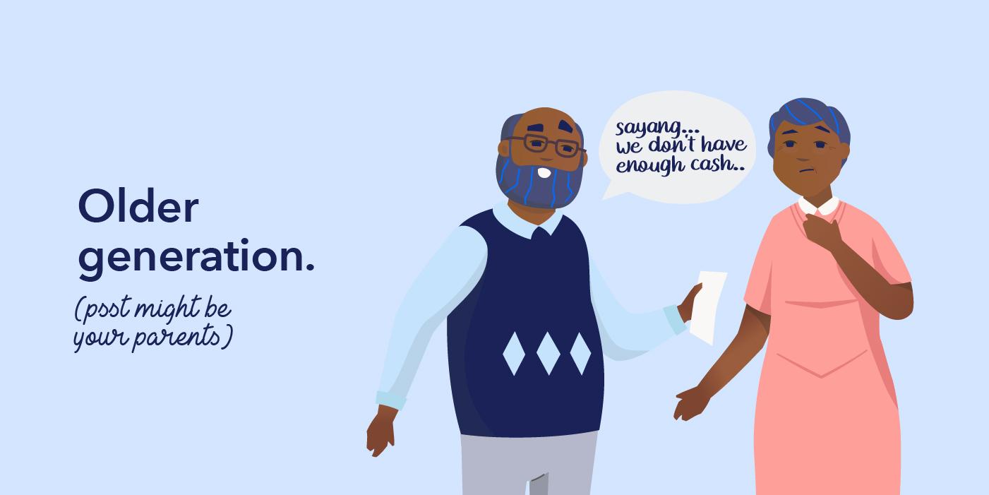 Illustration of old people not having enough cash