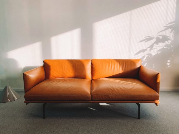 Leather sofa in a room