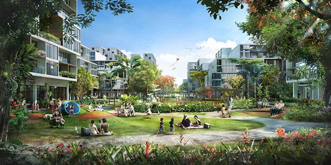 Artist's impression of Garden District in Tengah