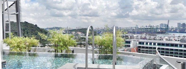 Pool at the penthouse of The Oceanfront, Sentosa Cove