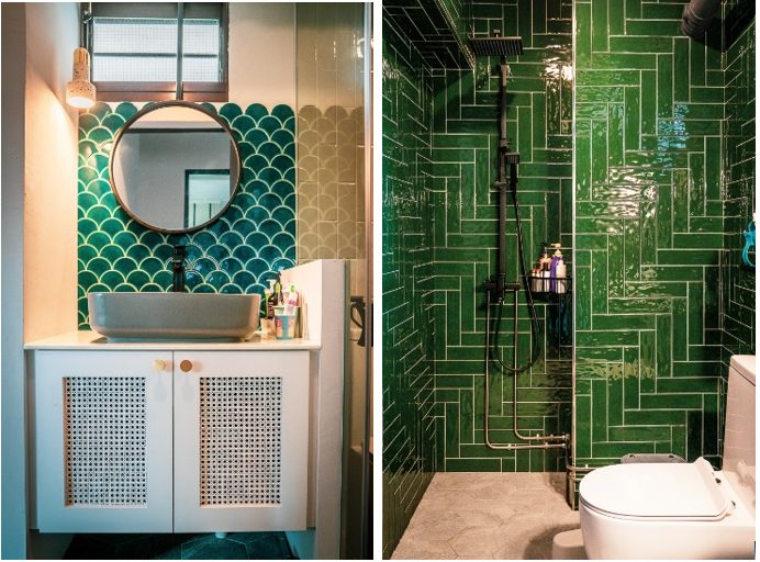 Instead of hacking away the original tiles, overlay them with the tiles of your choice. For more bathroom renovation tips, read The Basics of Bathroom Renovation!