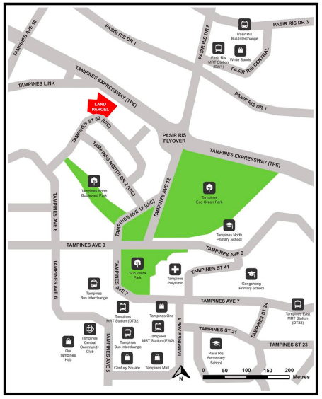Map of Tampines Street 62 Parcel B site