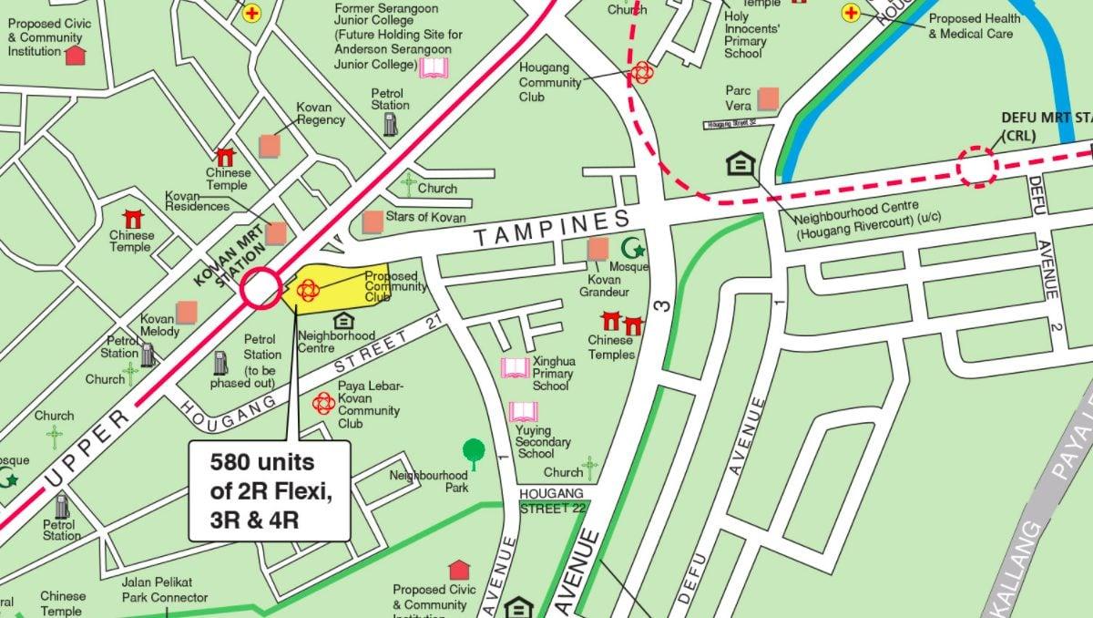 Map of August 2021 Upper Serangoon Road BTO