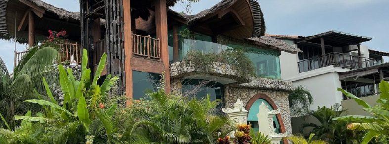 rustic hut shape sentosa cove design balinese facade