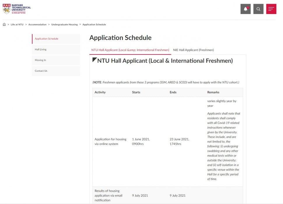 ntu housing application schedule