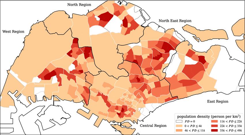 subzone residential population density map of Singapore