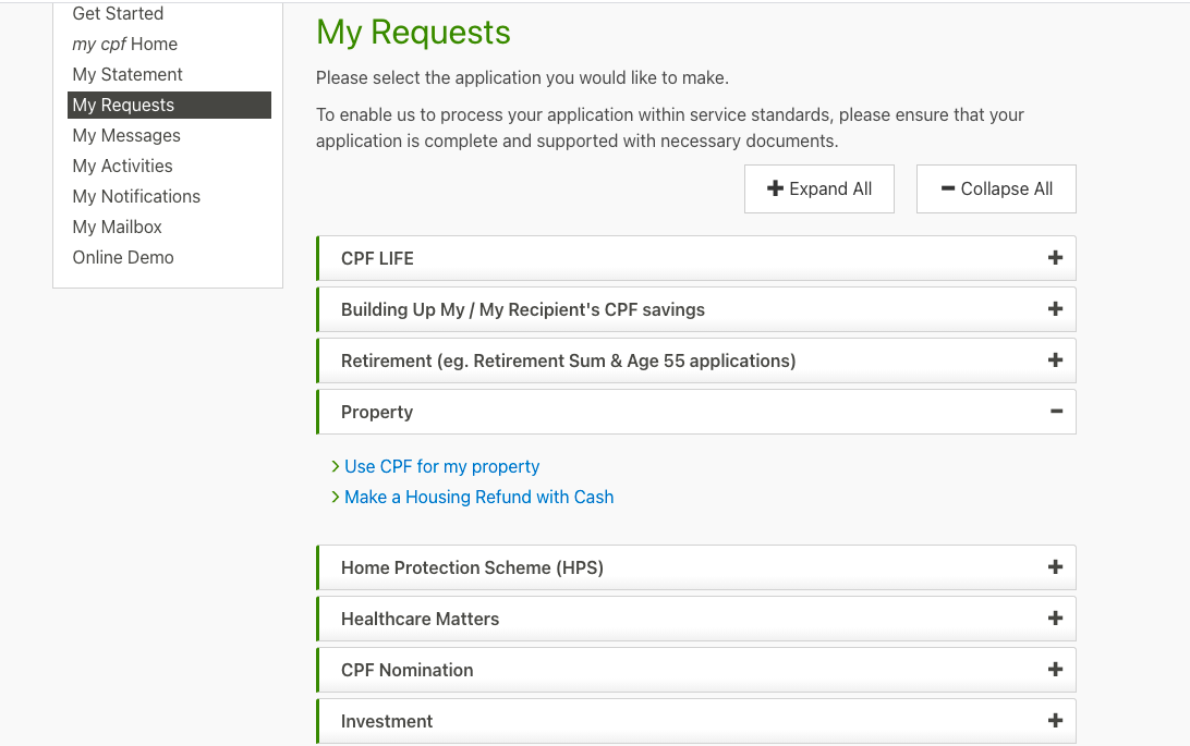 CPF my requests page