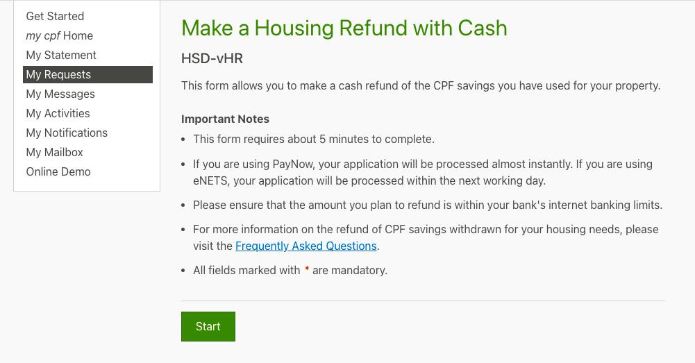 CPF housing refund page