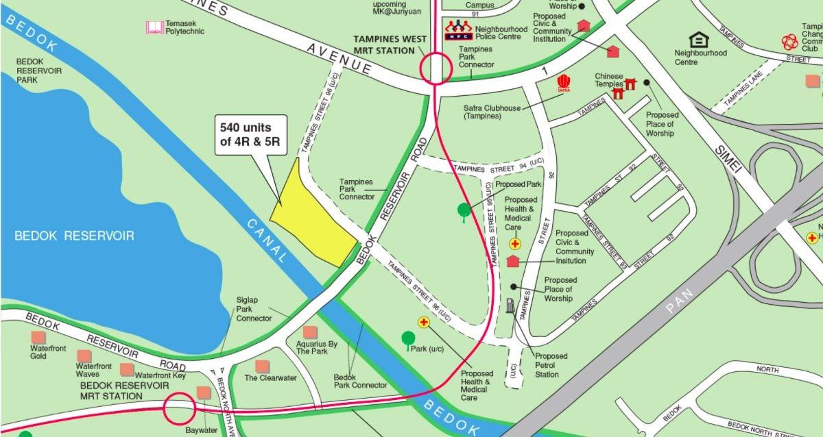 August 2021 Tampines BTO map near Bedok Reservoir